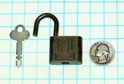 Vtg Antique Old Ornate Small 1 inch REESE Lock Co. Warded Padlock and Flat Key