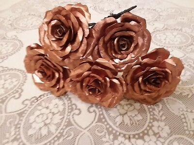 Handmade iron and copper rose with hand forged stem. Perfect Valentines day gift