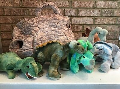 FAO Schwarz Dinosaurs in a Rock House Plush W/ House  Cave + 6 Plush Dinosaurs