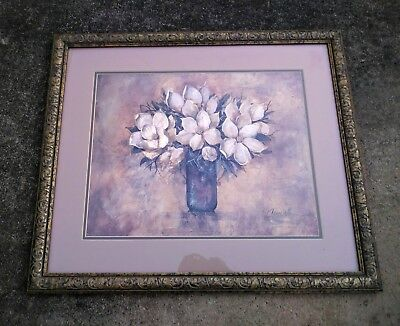 Antique Magnolia framed wall art (beautiful floral art) size: 21inchesx25inches