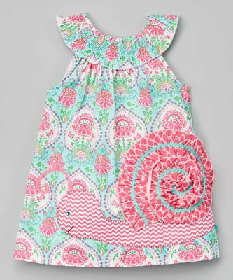 Mud Pie Smocked Snail Dress Size 6-9 Months Baby Girls Boutique Spring Infant
