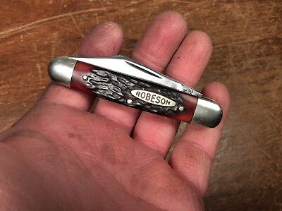 """Vintage Clean-Used """"Robeson"""" Pocket-Knife With Red Bone or Stag-Handles, NR"""