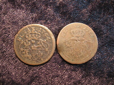 2 old world coin lot POLISH LITHUANIAN COMMONWEALTH grosz 1754 FREE S&H