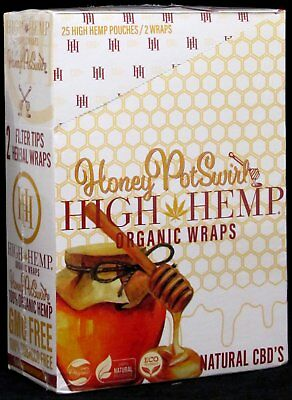 High Hemp Honey Pot Swirl Organic Wraps Box of 25 Pouches (2 Per Pouch) 50 Total