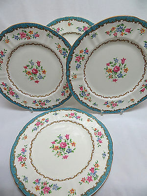4 Crown Staffordshire Fine Bone China Porcelain Dinner Plates, England
