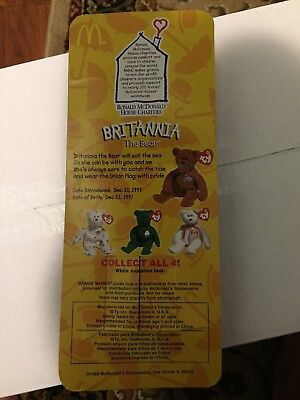 Britannia The Bear Ty Beanie Baby w/ Rare Errors