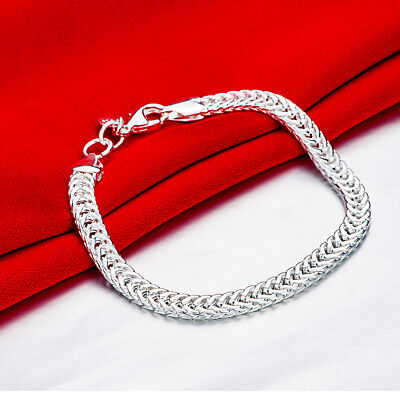 "8"" Mens Womens 925 Sterling Silver 6mm Snake Link Chain Bracelet #B476"