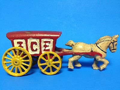 Vintage CAST IRON HORSE w/ RED ICE WAGON metal toy w movable wheels figurine