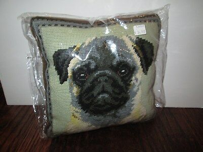 Fawn Pug Dog Handmade Needlepoint Pillow 10 by 10 NWT