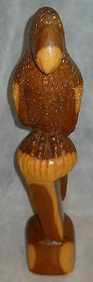 """Parrot, 19"""" Wood Carving """"nassau By Marley"""" Beautiful Stained Cedar, Vintage!"""
