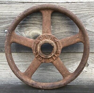 Antique Powell Industrial Hand-Crank Valve Wheel ~ Vintage Cast Iron Wheel