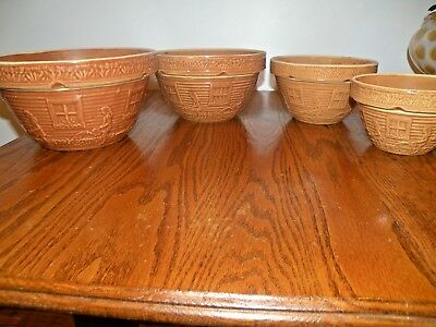 Vintage Mccoy Yelloware Girl With Watering Can Mixing Bowls Set Of 4