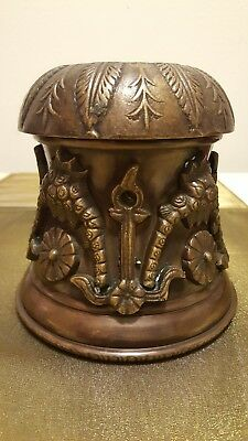 Antique Bronze? Brass? Ornate Nautical Anchor Floral Lamp Light Cover Fixture