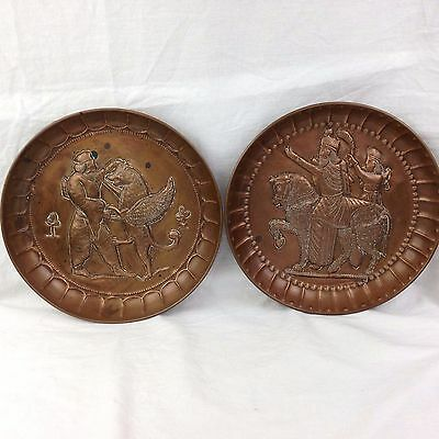 Vtg Pair of Decorative Hand Etched Copper Wall Plates Persian 3D Images