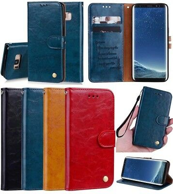 Luxury Classic Magnetic Flip PU Leather Card Pocket Kickstand Case Cover & Strap