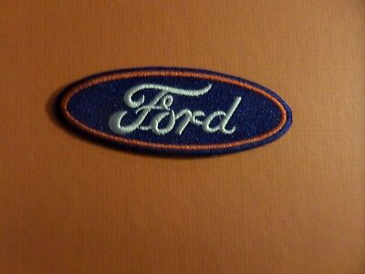 FORD LOGO white& blUE & RED  Embroidered 1-1/8 x 3-1/2 Iron Or Sew On Patch