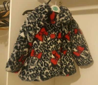 Girls Minnie mouse faux fur coat age 18-24 months. Disney at George
