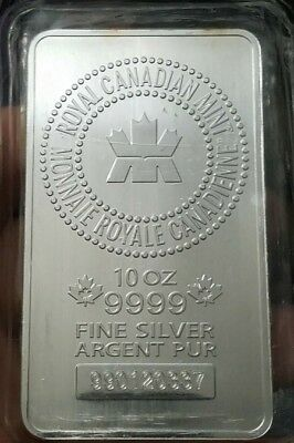 10 oz Royal Canadian Mint .9999 Fine Silver Bar mint sealed.**MAKE US AN OFFER**