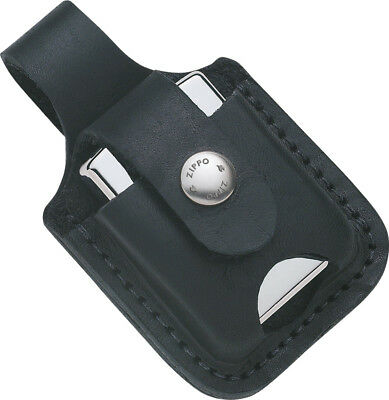 Zippo ZO17012 Lighter Lighter Pouch Black Leather Features Loop & Thumb Notch