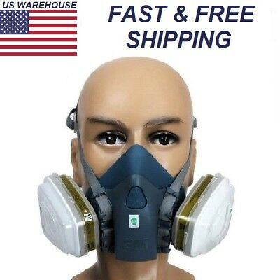 For 3M 7502 Silicone Half Face Respirator Painting Spraying Face Gas Mask Navy