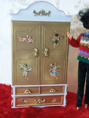Ooak New Barbie Armoire Vintage Decor & Out Mirrors Inside Doors Beautiful