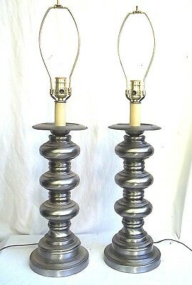 Pair Mid Century Modern Industrial Polished Steel Baluster Bobbin Turned  Lamps