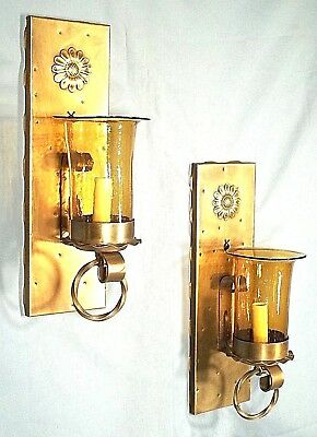 Pair Of Mid Century Arts+Crafts Mission Spanish Style Brass+Glass Sconces