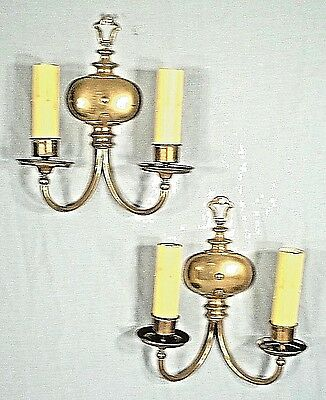 PAIR OF ANTIQUE EARLY 19th CENTURY SOLID BRASS DOUBLE ARM SCONCES
