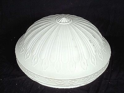 Antique Victorian Art Nouveau Frosted Embossed Milk Glass Hanging Light Shade