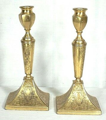 PAIR EARLY 20th CENTURY ENGRAVED BRASS CLASSICAL FEDERAL STYLE CANDLESTICKS