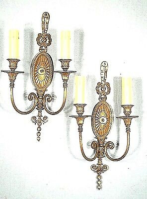 A Wondeful Pair Of Classical Adams Double Arm Oval Back Brass Sconces