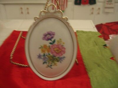 Beautiful Vintage Hand Painted Plaque With Barbola Bow & Flowers Kaiser Germany