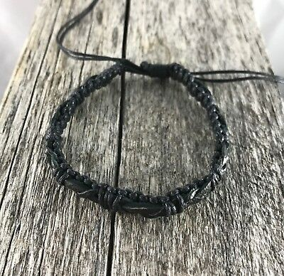 Black Leather Bracelet w Waxed Cotton / Anklet Wristband Mens Womens Kids Surf