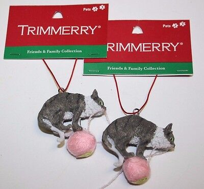 Trimmerry Christmas Tree Ornament Set of 2 Playing Cats Gray