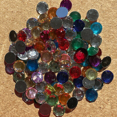 100pcs 10mm Resin round Flatback Rhinestone Gem Crystal Beads Craft #825