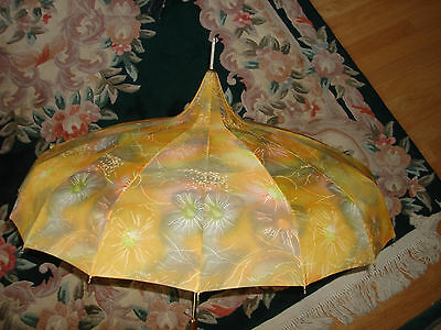 Vintage Nice  Victorian Yellow Multicolored Rare  Waterproof Umbrella Parasol
