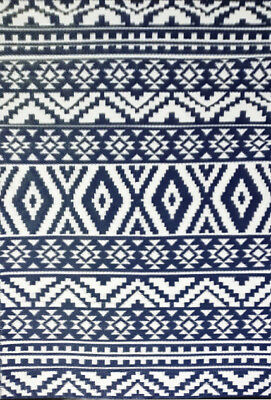 **ECO-FRIENDLY** Indoor/Outdoor Rug-Chatai 10024 -Navy/White- 150x240 - RRP$150