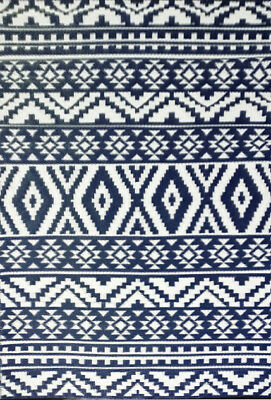 **ECO-FRIENDLY** Indoor/Outdoor Rug-Chatai 10024 -Navy/White- 120x180 - RRP$95