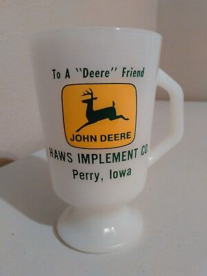 John Deere Mug Haw Implement Co. Perry IA Fire-King Anchor Hocking
