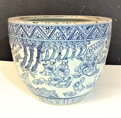 Antique Chinese Porcelain Blue and White Pottery Ming 18 disciples of the Buddha