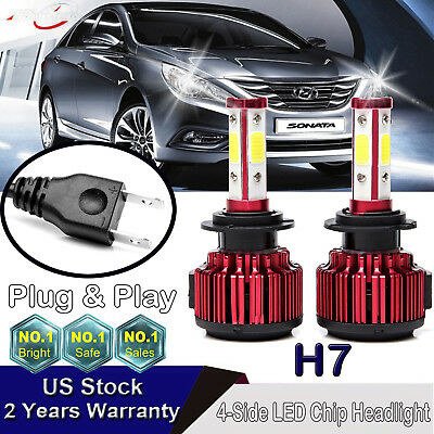2x LED Headlight H7 300W 30000LM Lamp Bulb 6000K High Bright For Hyundai Sonata