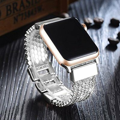 Apple Watch Band 38mm Stainless Steel Series 3 2 1 Bracelet Bling Silver NEW