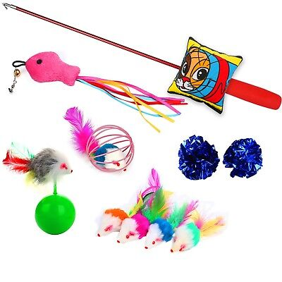 Cat Toys 10 Pieces Kitten toys Including Cat Teaser Wand Interactive Feather Toy