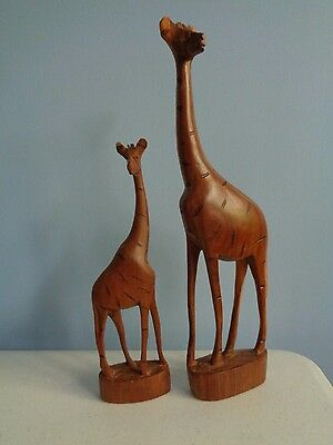 Pair of Collectible Hand Carved Wood Wooden Tall Giraffe Sculptures Figurines