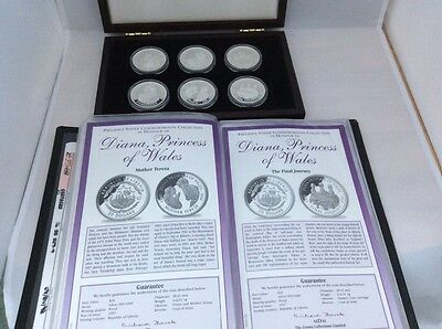 A Set Of 6 Solid Silver $20 Dollar Coins Collection In Fitted Wooden Case.