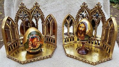 Two Russian lacquered / hand-painted wood eggs, signed, w/ Dept 56 stands