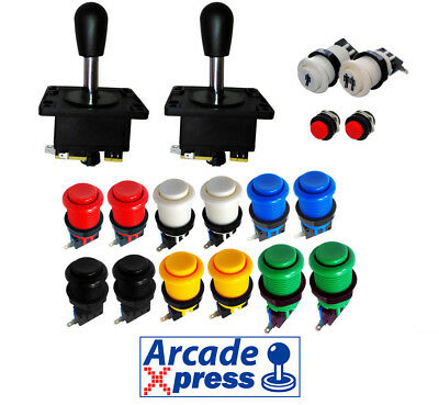Kit Joystick Arcade x2 Spanish Joysticks Negros 12 botones 2 player