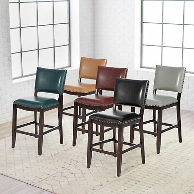 Leather Bar Stool With Back 26 Counter Height Espresso Wood Frame