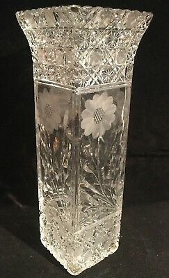 "Huge 14"" American Brilliant Period Cut Glass Vase Harvard And Daisy Pattern"