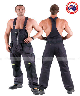 New Mens Work Trousers Bib and Brace Dungarees Work Overalls Grey Cotton OLZA
